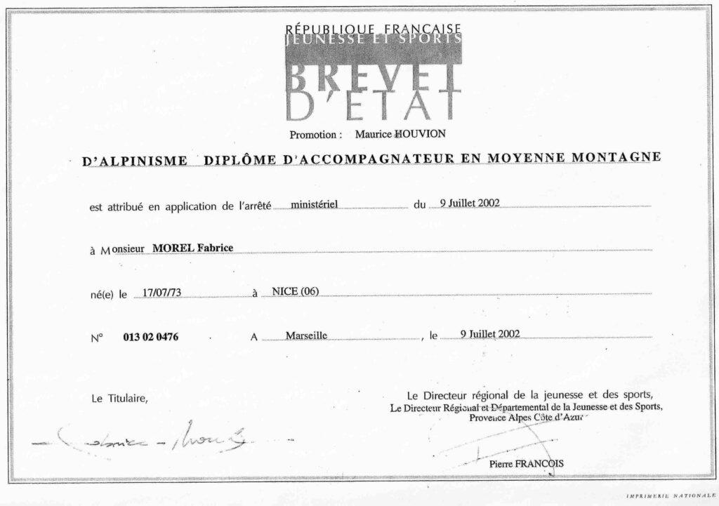 accompagnateur en montagne, diplôme brevet d'état