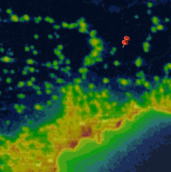 pollution lumineuse mercantour Turini
